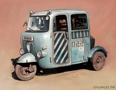 """Old Vehicle 1"" by cgooi (ChunGee Ooi) #illustration http://cgooi.deviantart.com/art/Old-Vehicle-1-334682611 - DeviantArt"