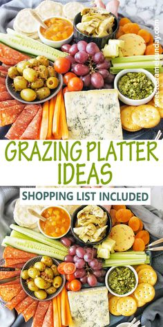 Grazing Board Platter to WOW your guests. From sweet to savory, there is meats, crackers, fruit and dip showed off on this cheese tray. Easy to pull together for any occassion! #grazingboard #grazingplatter #cheeseplatter @sweetcaramelsunday