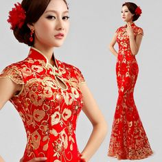 Chinese Cheongsam Formal Evening Prom Wedding Bride Dress Mermaid Ballgown QP12