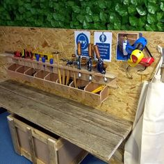 Woodwork bench ready for training tomorrow. #realexperiences, #diyfun, #creativeplay, #aweandwonder, #eyfswoodwork, #eyfsteaching, #eyfsoutstandingteachers