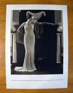 Original Vintage Fashion Photo Ad - Vogue - Molyneux - 1933 - Edward Steichen Edward Steichen, Vintage Fashion Photography, Vogue, Ads, The Originals, Painting, Haute Couture, Painting Art, Paintings