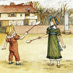 Greenaway, Kate, (1846-1901), Playing Badminton