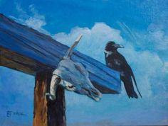 "Wildlife Art International: Original Raven Wildlife Painting ""Violet-Contemplates-Mortality"" by Colorado Western Landscape Painter Nancee Jean Busse"