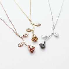 Rose Pendant Necklace- Initial Necklace - Rose Gold Flower Necklace Summer Outdoors Summer Jewelry Summer Party
