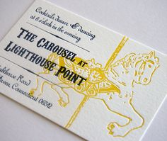 beautiful letterpress invite- not the carousel horse itself but ike the overlay effect