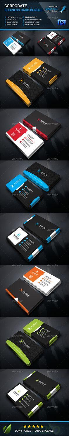 Creative Corporate Business Card Bundle Template #design Download: http://graphicriver.net/item/creative-corporate-business-card-bundle/12617040?ref=ksioks