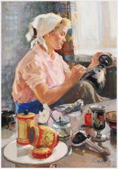 Женщины Страны Советов... Левицкая Мария Ионовна (Россия, 1923 - 2001) «Мастерица хохломы»