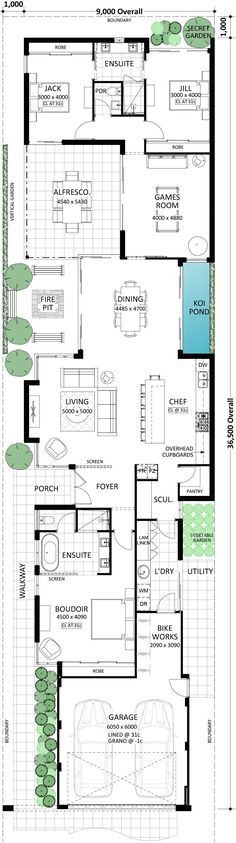 Natrow lot par excellence👍🏼 It is hard to imagine a sense of spaciousness when you stand out the front of this home. However, the Holbaek does not lack spaces. New House Plans, Dream House Plans, Modern House Plans, Small House Plans, House Floor Plans, My Dream Home, Casa Top, Architectural Floor Plans, Narrow House