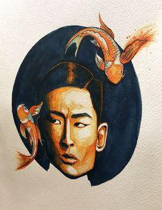 Illustration, Watercolour, Asian, Painting, Koi