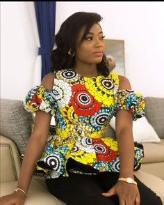Best African Dresses, Latest African Fashion Dresses, African Print Fashion, African Attire, African Wear, Ankara Tops Blouses, Ankara Blouse, African Blouses, Peplum Top Outfits