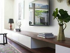 IKEA hacks: 10 easy IKEA furniture conversions, copy now! - Floating IKEA furniture, drawers and wood - Home Living Room, Living Room Decor, Living Spaces, Living Room Storage, Tv Wall Ideas Living Room, Wall Cabinets Living Room, Living Room Tv Unit, Decor Room, Small Living