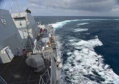 INDIAN OCEAN (May 15, 2014) The guided-missile destroyer USS Nitze (DDG 94) conducts a Williamson U-turn during a man overboard drill. Nitze, homeported in Norfolk, Va., is on a scheduled deployment supporting maritime security operations and theater security cooperation efforts in the U.S. 6th Fleet area of responsibility. (U.S. Navy photo by Mass Communication Specialist 1st Class Maddelin Angebrand/Released)