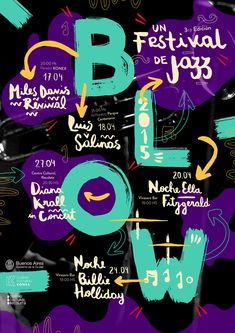 Colour Crushing! Jazz Festival Poster Design Jazz Festival, Poster Festival, Design Festival, Web Design, Layout Design, Design Art, Print Design, Graphic Design Posters, Typography Design