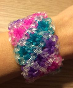 Items similar to Rainbow Loom - Handmade Jelly Colors & Clear Triple Star Cuff Bracelet - Awesome on Etsy Rainbow Loom Bracelets Easy, Rainbow Loom Bands, Loom Band Patterns, Rainbow Loom Patterns, Rubber Band Crafts, Rubber Bands, Monster Tail, Fun Loom, Loom Craft