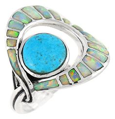 925 Sterling Silver Ring with Genuine Turquoise and Lab Created Opal Sizes 6 to 11 6 -- Details can be found by clicking on the image.Note:It is affiliate link to Amazon. #Jewelry