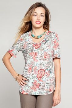 Jungle Paisley Ruched Sweet V-Neck Top - Kim & Co