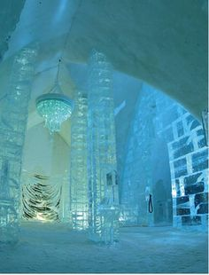 Ice Chandelier in a main hall at Hotel de Glace, Quebec