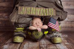newborn fireman with daddy