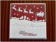 hania739: Winter landscapes Cas Christmas Cards, Christmas Card Crafts, Stampin Up Christmas, Santa Christmas, Holiday Cards, Christmas 2014, Crafters Companion Cards, Santa Sleigh, Memory Box Cards
