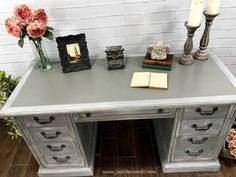 Dry brushing furniture tutorial with video. Dry brushing is the easiest furniture painting technique. Get a gorgeous dry brushed painted furniture finish. Gray Painted Dressers, Annie Sloan Painted Furniture, Hand Painted Furniture, Painted Desks, Grey Furniture, Paint Furniture, Furniture Makeover, Refinished Furniture, Furniture Ideas