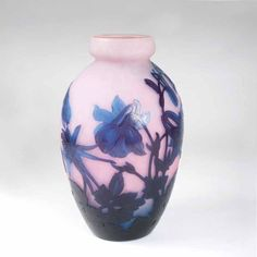 André Delatte  Chatenois/Vosges 1887 - Toulouse/Haute Garonne 1953  A Vase 'Ancolies en verre marmoréen satiné'  Nancy, around 1925/30