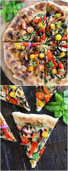 Garlic Butter Grilled Vegetable Pizza Recipe on twopeasandtheirpod.com Grilled…