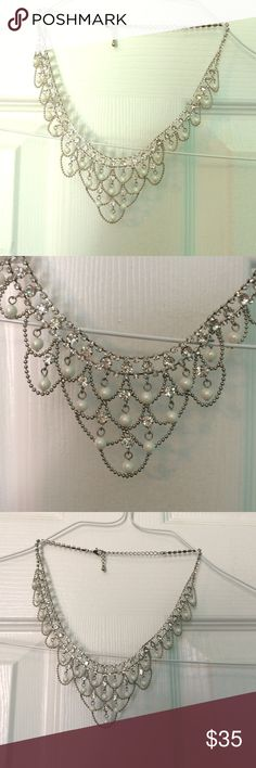 Wedding or special occasion necklace Pearl and rhinestone necklace.  I wore this necklace on my wedding day.  Also have matching earrings and bracelets on my page. Jewelry Necklaces