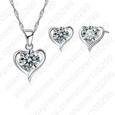 PATICO 2016 New Silver Plated Cubic Zirconial Heart Shape Fine Jewelry Sets for Women Wedding Necklace Earrings Sets //Price: $4.99 & FREE Shipping //     #hashtag1