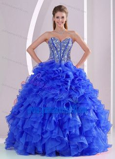 www.quinceanera10... blue Ball Gown Sweetheart Ruffles and Beading Long Organza Quinceanera Gowns