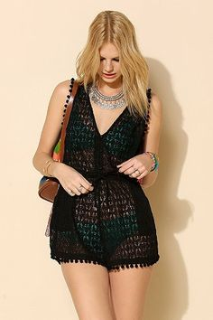 6 Shore Road Crochet Cover-Up Romper - Urban Outfitters