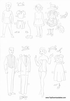 Man and Woman family paper doll   coloring page