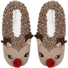 TOPSHOP Rudolph Footsie Slippers ($22) ❤ liked on Polyvore featuring shoes, slippers, pajamas, sapatos, topshop and brown