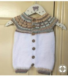 Short sleeve and shorts Overall made of collar. : Short sleeve and shorts Overall made of collar. Baby Knitting Patterns, Hand Knitting, Overall Shorts, Baby Overall, Knitted Baby Clothes, Baby Dress, Crochet Baby, Baby Kids, Short Sleeves