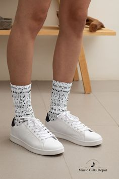 would love to tap the beat of the music in this pair of music note socks! #musiclover #musicnote #musicsocks #musicgift Gift For Music Lover, Music Gifts, Music Lovers, Music Backpack, Marching Band Shirts, Music Shoes, Music Notes Art, Drummer Gifts, Band Director