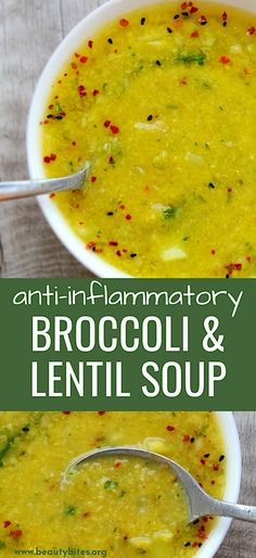 Broccoli and Red Lentil Detox Soup – Beauty Bites Detox soup recipe with broccoli and red lentils – delicious, warming, but also anti-inflammatory, high-fiber and antioxidant-rich. Also vegan Clean Eating Recipes, Easy Healthy Recipes, Vegan Recipes, Clean Meals, Eating Clean, Detox Recipes, Soup Recipes, Lentil Detox Soup, Detox Breakfast