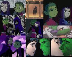 Beast Boy & Raven collage Beast Boy, Raven Images, Dc Comics, Teen Titans Love, Bbrae, Tv Couples, Marvel, Cartoon Tv, Drawing Poses