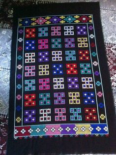 This Pin was discovered by GÖN Cross Stitching, Cross Stitch Embroidery, Cross Stitch Patterns, Cross Stitch Silhouette, Clay Wall Art, Palestinian Embroidery, Bargello, Kilim Rugs, Rugs On Carpet