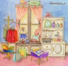・ 壁って無難に白とか黄色とかベージュが、失敗しなくていいのかもしれません・・・ でも、どこか無難にまとめたくないワタシがおります (o´Д`)=зフゥ… ・ ・ #大人の塗り絵#コロリアージュ#憧れのお部屋 #井田千秋 #adultcolouring #coloriage #colouringbook #colouring#大人のぬりえ#おとなのぬりえ#色鉛筆#油性色鉛筆#アイシャドウパレット#お洒落さんのお家