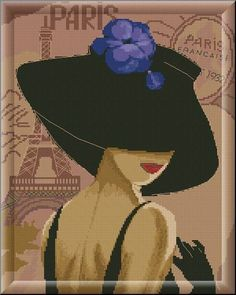 0 point de croix femme chapeau paris - cross stitch lady hat