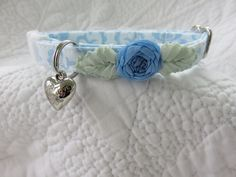 Shabby Chic  Cat Collar with heart  LIMITED  by graciespawprints