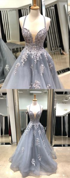Gray v neck lace tulle long prom dress, gray evening dress Homecoming Dresses Long, Unique Prom Dresses, A Line Prom Dresses, Tulle Prom Dress, Elegant Dresses, Pretty Dresses, Beautiful Dresses, Lace Dress, Tulle Lace