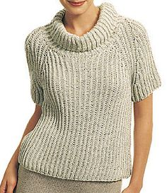 Free Knitting Pattern for One Row Repeat Sweater - This short-sleeved raglan pullover features a one-row repeat Fisherman's Rib stitch for the body. Designed by Berroco Design Team Small, Medium, Large, X-Large