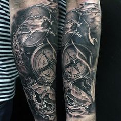 Incredible Compass And Water Theme Male Tattoos