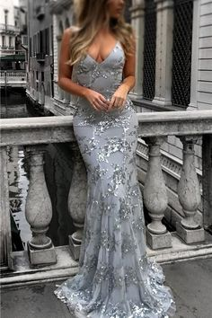 Prom Dresses 2019, Sequin Evening Dress, Silver Prom Dress, Mermaid Prom Dress #SilverPromDress #MermaidPromDress #PromDresses2019 #SequinEveningDress