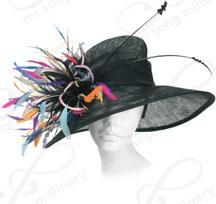 e186b10d071 Sinamay Hat with Feather Trim Church Hats Church Suits And Hats
