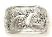 Sterling Silver Running Horses Cuff Bracelet