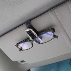 Bling Rhinestones Car Sun Visor Sunglasses Clip