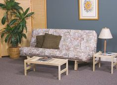"""Bi-Fold Sofa Bed Futon Frame with 8"""" Futon Mattress by Futons & Furniture Direct. $239.00. 8"""" Thick Full Size White Futon Mattress. 5 Positions - Fully Upright, 3 Recline & Bed. Full 5 Year Warranty. 100% Solid Hardwood Frame Construction. Natural Hardwood takes stain well or beautiful as is. DESCRIPTION: This item includes the Bi-Fold Sofabed solid hardwood frame with an 8 inch thick white futon mattress.  FIVE POSITION SOFABED -  Our unique design allows you to quickly adjust t..."""
