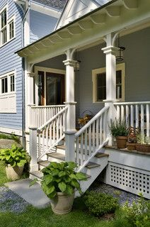 Another porch step railing idea.  We already have the porch railing but need new steps and a railing to match.
