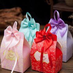 100 шт./лот бантом ленты коробки конфет бонбоньерка сладкий бумажная коробка Свадебный коробки подарочные коробки день рождения поставки